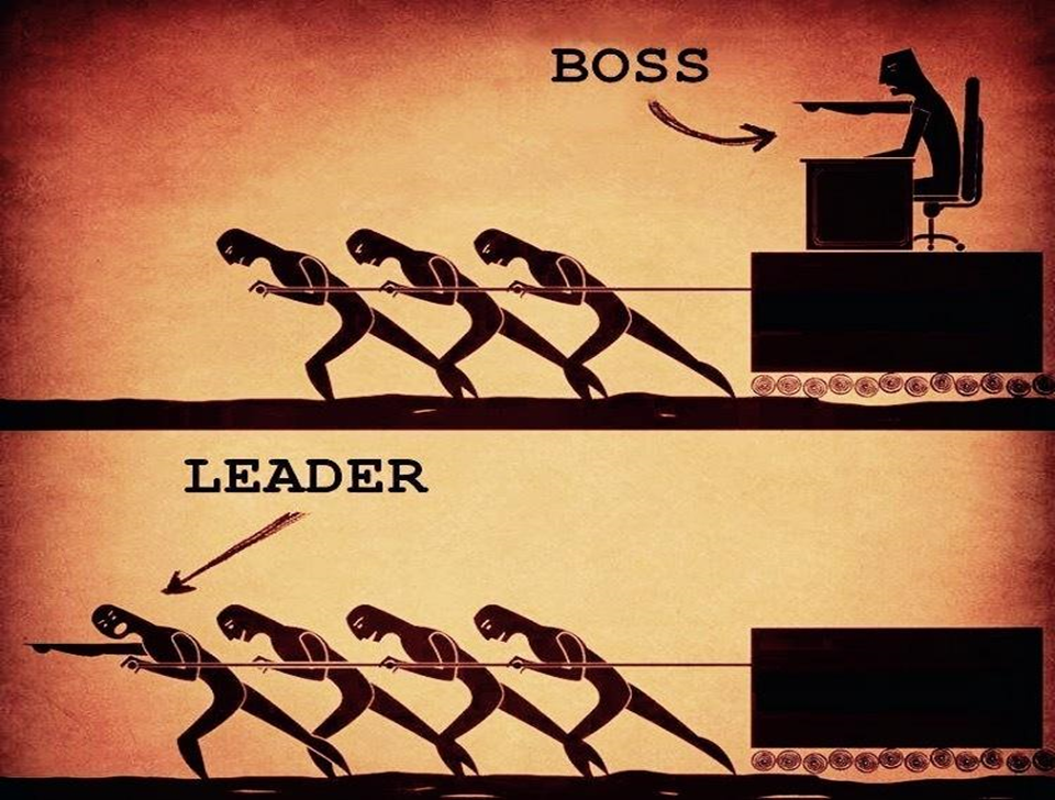 Graphic showing a boss vs a leader